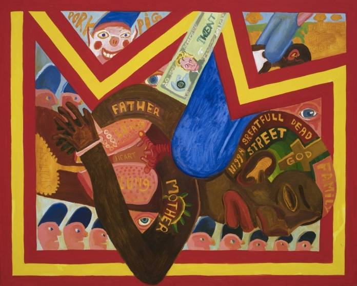 Detail of George Floyd Triptych (2020) by Peter Williams