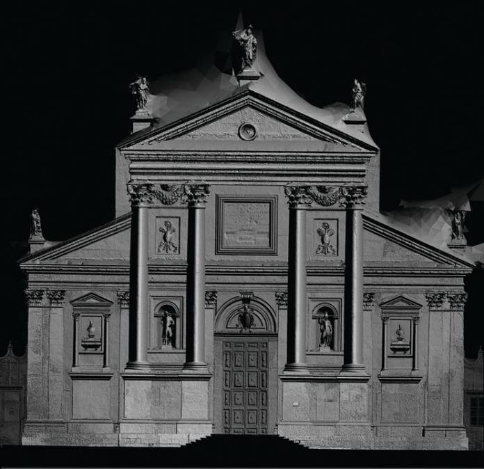 The façade of Palladio's church on the island of San Giorgio in a shaded render of a depth-map orthophoto of its composite photogrammetry produced by Factum Arte © Fondazione Giorgio Cini