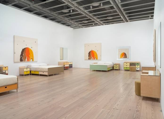 "Installation view of ""Laura Owens,"" 2017–18, showing untitled works from 1998, at the Whitney Museum of American Art, New York.RON AMSTUTZ"