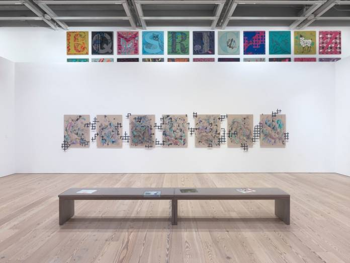 "Installation view of ""Laura Owens,"" 2017–18, showing untitled works from 2012, at the Whitney Museum of American Art, New York.RON AMSTUTZ"
