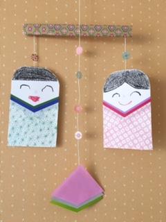 折り紙で作ったつるし雛と菱餅