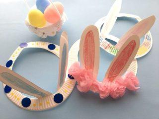 紙皿で作ったうさぎの耳の冠