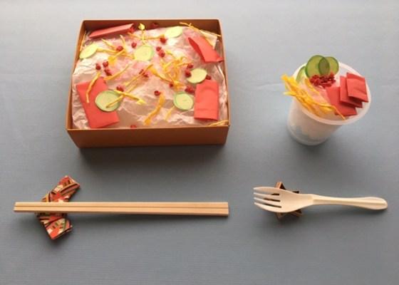 折り紙の箸置きとちらし寿司