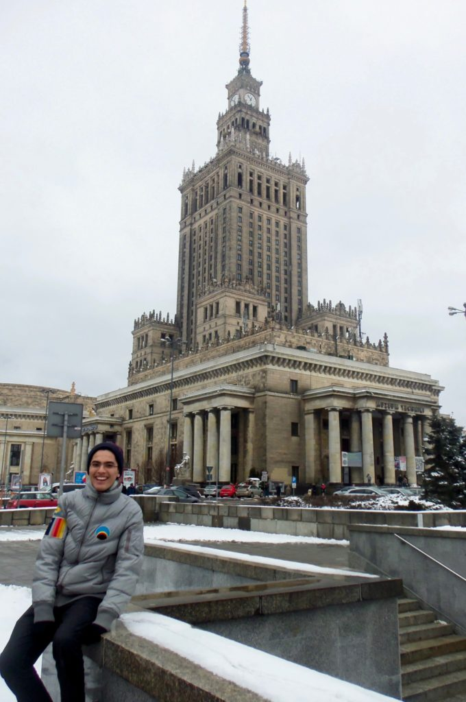 In front of the Palace of Culture and Science in Warsaw,