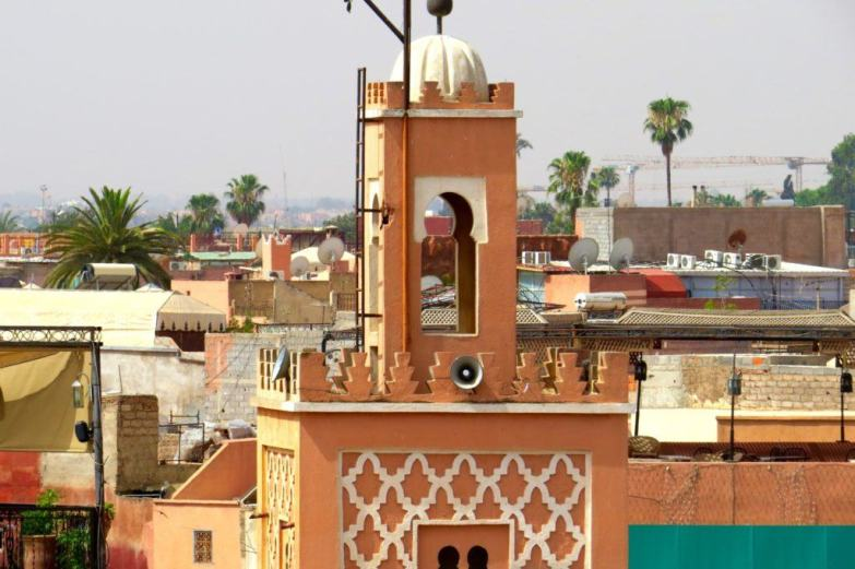 Minaret of a mosque in the Red City of Marrakech.