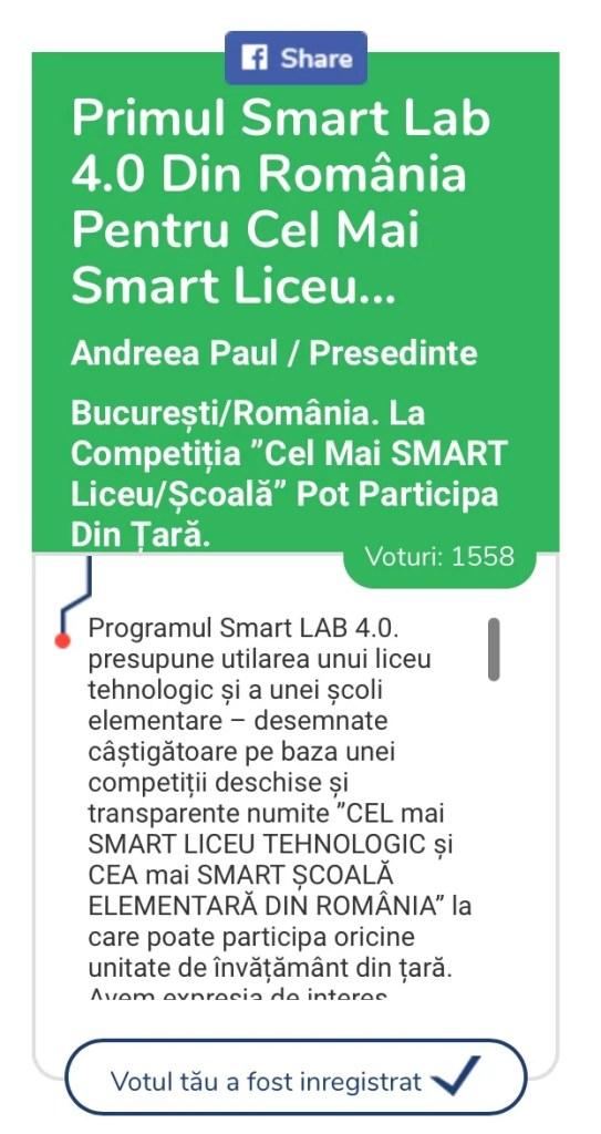 Azi și mâine mai poți vota pentru Primul SMART LAB 4.0 din școlile românești