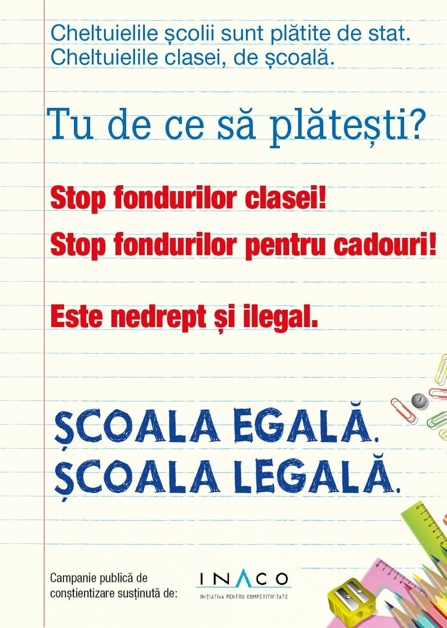"""INACO a lansat campania publică de conștientizare: """"Școala egală. Școala legală"""""""