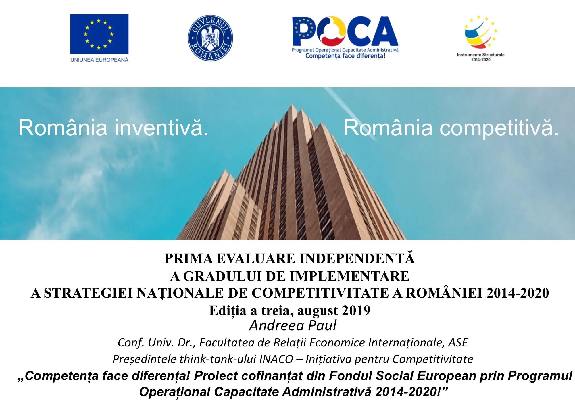 Studiu INACO: 26 din cele 27 de obiective ale Strategiei Naţionale de Competitivitate a României 2014-2020 sunt neîndeplinite în prezent