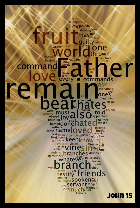 Design experiments with a Word Cloud of John 15 - Part 1 (3/6)