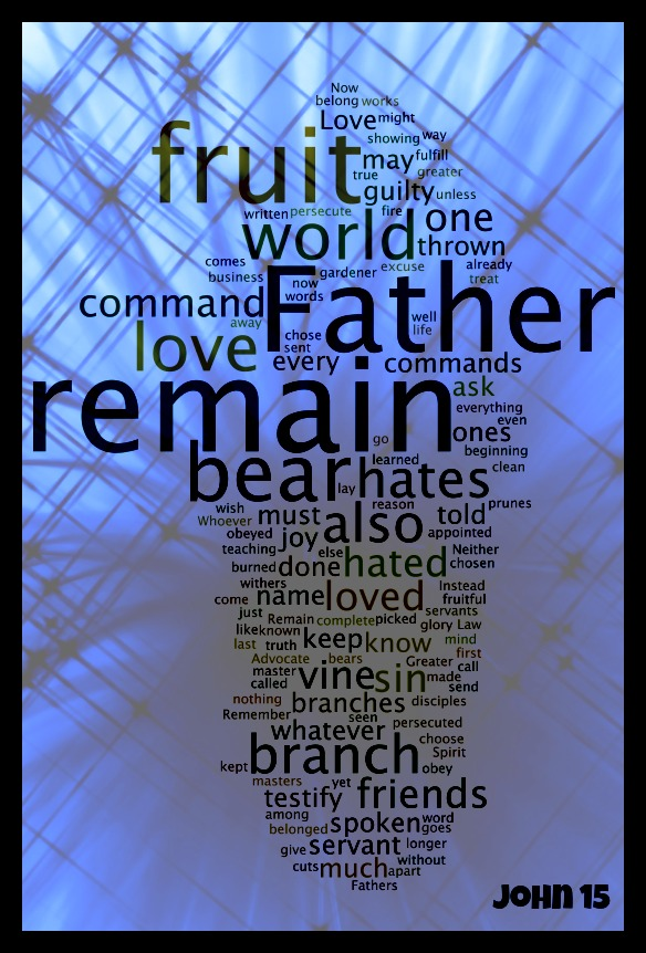 Design experiments with a Word Cloud of John 15 - Part 1 (5/6)