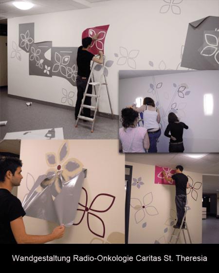 Wandgestaltung mit Schablonenmalerei in der Radioonkologie St. Theresia in Saarbrücken
