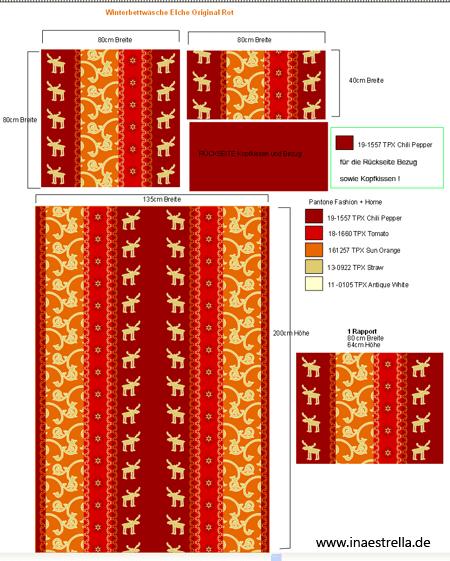 Druckmuster Rapporteinteilung für Bettwäsche Elche rot