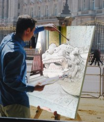 Some guy demonstrating his skillz by painting a particularly cool dragon thing from the Confucius Temple.
