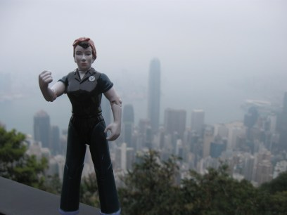 Rosie enjoying the view of smog and a few Hong Kong skyscrapers.