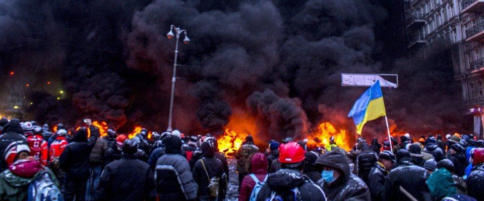 Crowd and fires during the Euromaidan (Kiev, Ukraine)