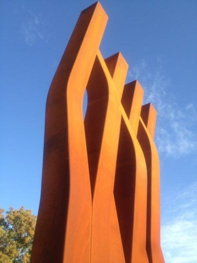 Sculpture by  David Versluis.  Enlaced: a Burning Bush, Psalm 19, COR-TEN Steel, 18'h x 8'w x 8'd, Dordt College Permanent Art Collection, 2013.