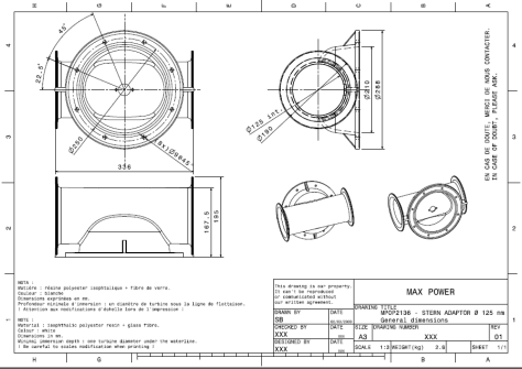Maxpower Stern Thruster Tube Adapter Drawing