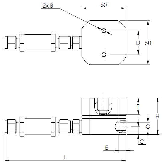 Micro Flow Meter Dimension Drawing