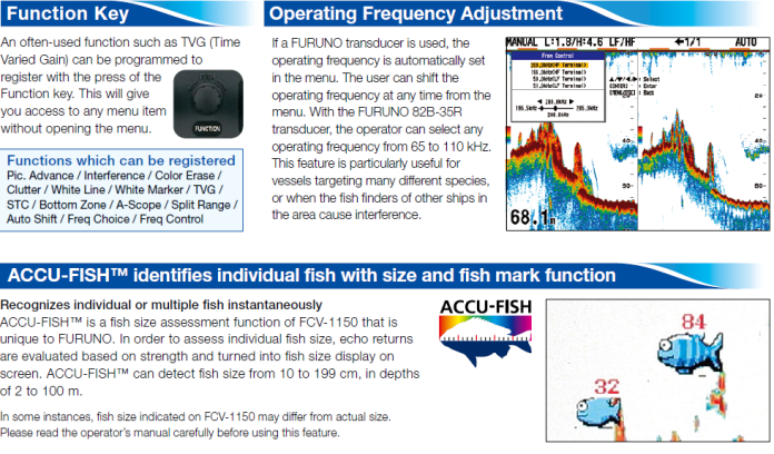 Function Key, Operating Frequency Adjustment, ACCU-FISH identifies individual fish with size and fish mark function