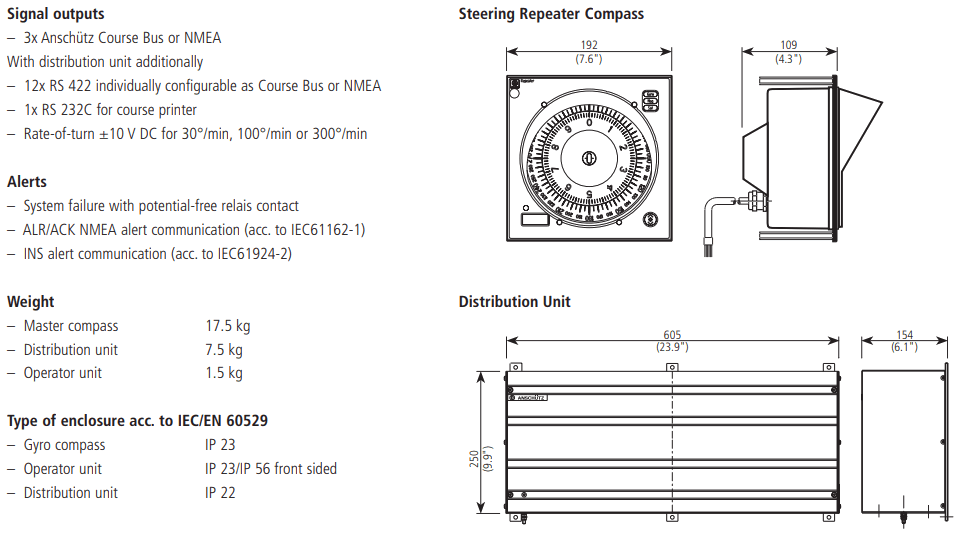 Gyro Compass System Technical Data