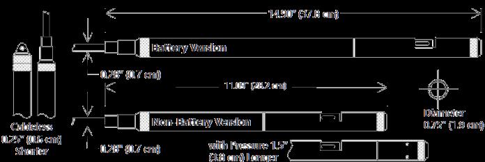 Conductivity Sensors Type CT2X Seametrics Dimensions