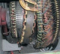 Damaged generator rotor following failure due to overspeed