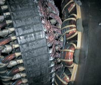 Detail of damaged generator rotor following failure due to overspeed