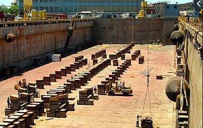Keel Block di Galangan Kapal