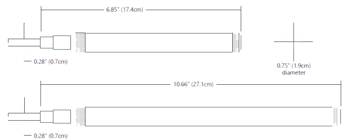 Temperature Sensors Type T1 Seametrics Dimensions