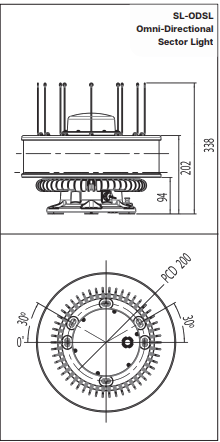 7-11NM Omni-Directional Sector Lantern (SL-ODSL) Drawing