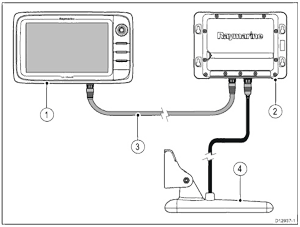 Basic Sonar System Featuring a Raymarine Multifunction Display