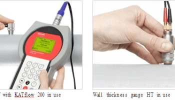 Wall thickness gauge NT with KATflow 200 in use and Wall thickness gauge HT in use