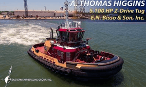EASTERN SHIPBUILDING GROUP, INC. DELIVERS THE A. THOMAS HIGGINS TO E.N. BISSO & SON, INC.