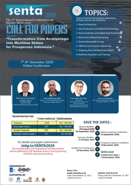 (SENTA 2020) The 5th International Conference on Marine Technology