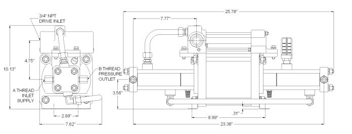 SC Hydraulic GBD Series Gas Booster Dimension