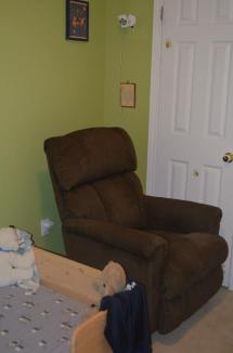 Our chair - my christmas gift last year. A beautiful Laz-Y-Boy recliner/glider.