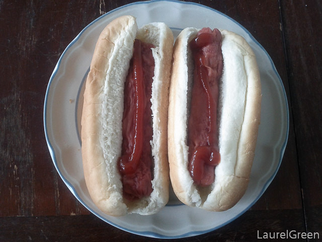 a photograph of two hot dogs with ketchup on them