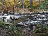 fording river in Maine along Appalachian Trial