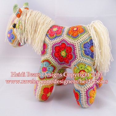 http://www.ravelry.com/patterns/library/fatty-lumpkin-the-brave-african-flower-pony-crochet-pattern