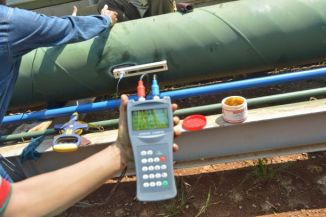 Pengoprasian flow meter ultrasonic portable
