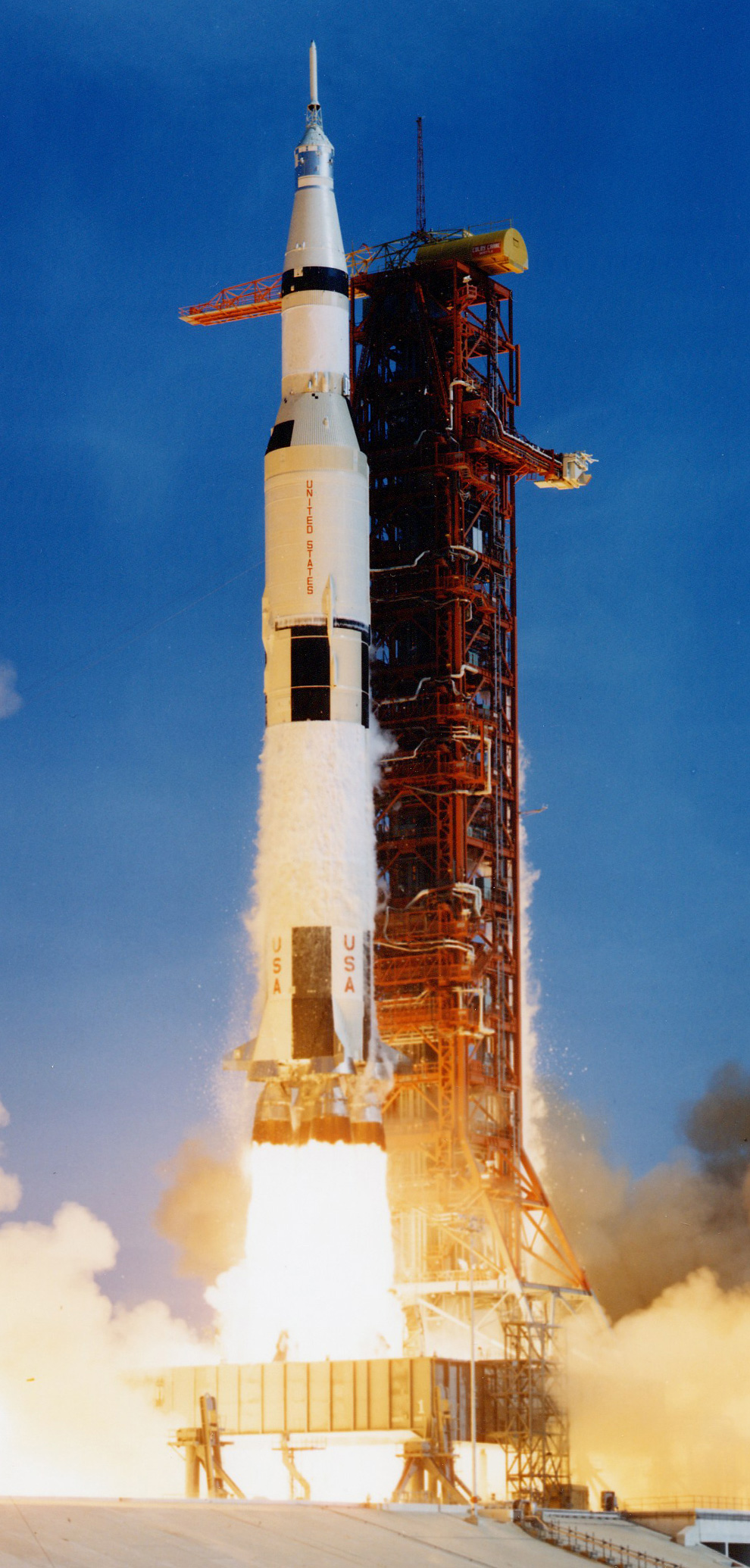 Lift-off of the Saturn V rocket, carrying astronaut Neil Armstrong to the moon