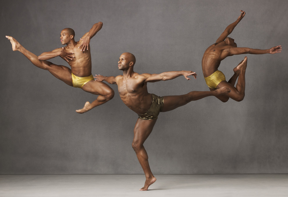 Alvin Ailey American Dance Theater members Antonio Douthit, Glenn Allen Sims and Kirven Boyd