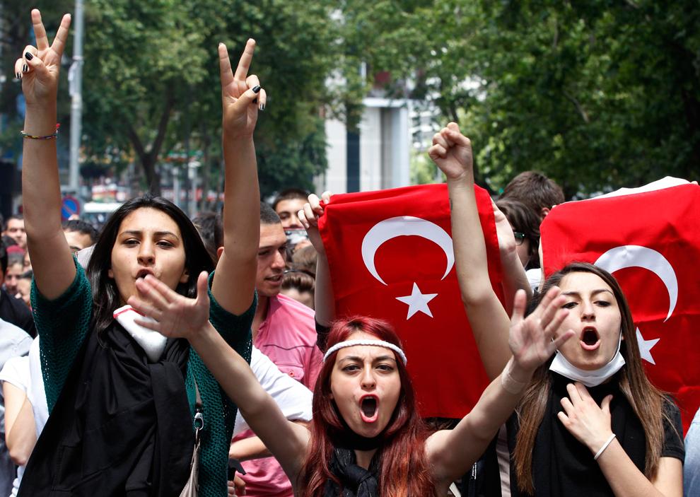 Targas mot protesterande i ankara