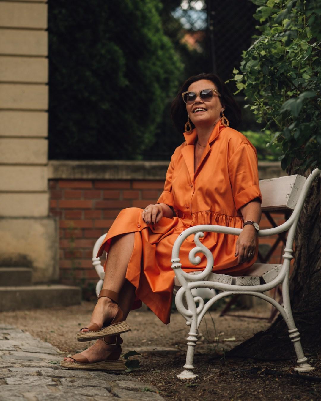Inastil, Sommermode, Sommerkleid 2020, Orange, Citymode, Stilberatung, Modeberatung, Ü50Mode, ü50Style, Nähen, Selbstgenäht, Baumwollkleid, Casualmode, Streetstyle-11