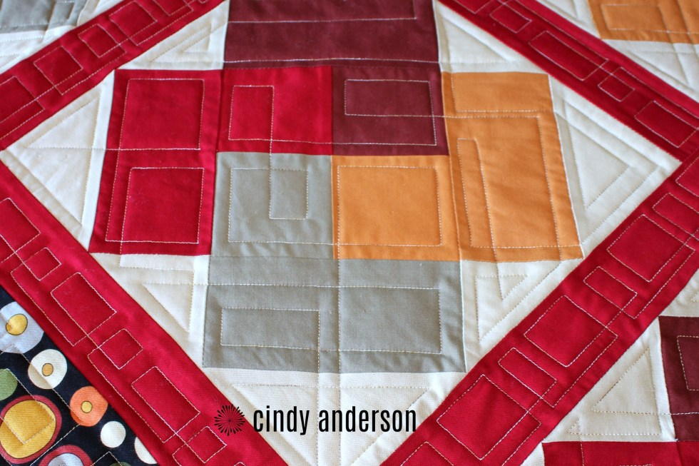 A Closeup of Barb M's Card Trick Quilt