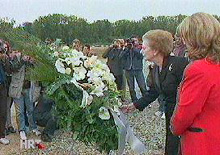 Margaret Thatcher at Ovcara massacre site, Vukovar, Croatia, September 1998
