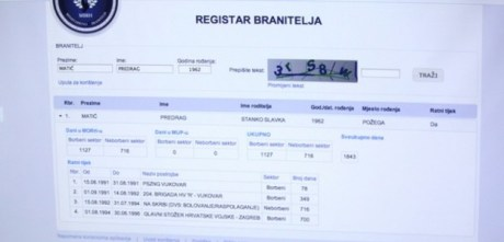 Croatian Veterans Register at https://registar.branitelji.hr   Photo: Pixsell
