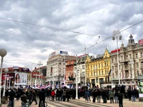"April 7, Ban Jelacic Sq., Zagreb - crowds gathering for""No Cyrillic in Vukovar"" Rally  Photo: Sacha Stephanie Vukic"