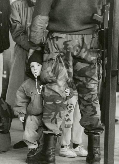 Croatia Zagreb Dec 1991 - A Croat child farewells soldier father Photo: Jadran Mimica