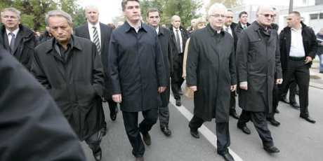 Vukovar 18 Nov 2013  Croatian Government and President march on Rembrance Day in a separate procession from majority of people Photo: Vlado Kos/Cropix